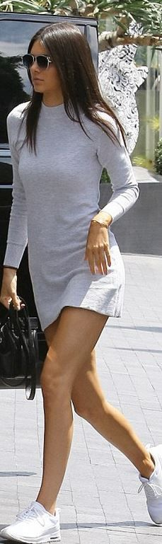 We love dresses with sneakers - Here Kendall Jenner wears: Celine Nano Bag, Nike Air Max Thea Running Sneakers, Cartier Juste Un Clou Bracelet, Dior Technologic Sunglasses and MINKPINK Ribbed Skivvy Sweater Dress - add a leather jacket for chillier weather #fashion...x