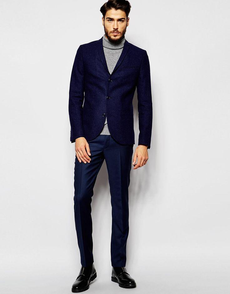 Image 4 ofNoak Textured Navy Tweed Blazer in Super Skinny Fit