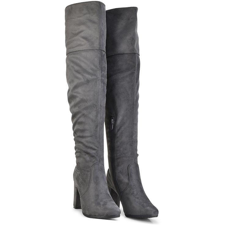 Grey suede over the knee boot Lets Walk JN77-05