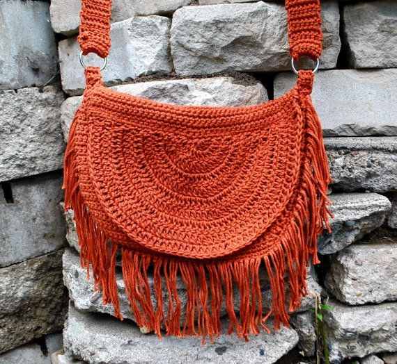 Reserved Bohemian Hippie Fringe Crochet Bag Purse por NonaRina