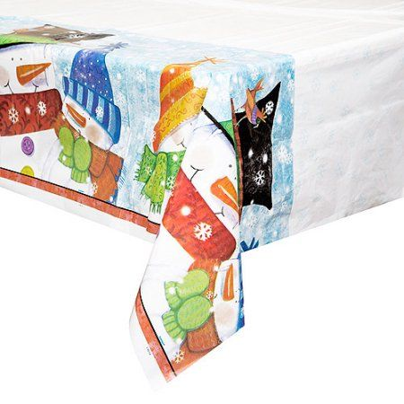 Plastic Snowman Buddies Holiday Table Cover, 84 inch x 54 inch, Multicolor