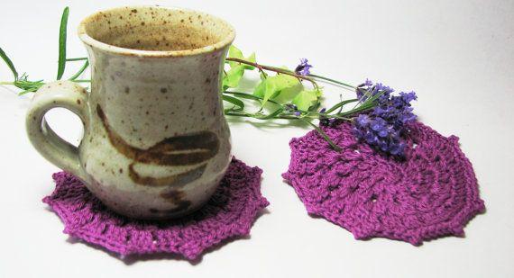 Purple Crochet Coaster Glass Coaster Crochet Doily by TheYarnShack