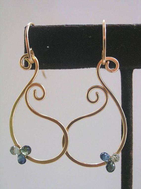 Saffier Paisley oorbellen blauwe edelsteen 14k Gold Filled