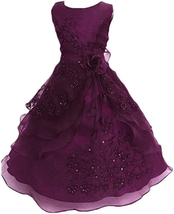 d2193d7bba2 Amazon.com  Shiny Toddler Little Girls Embroidered Beaded Flower Girl  Birthday Party Dress with Petticoat Grape 2t-3t  Clothing