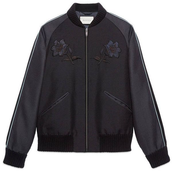 Gucci Wool Mohair Bomber Jacket (2 540 AUD) ❤ liked on Polyvore featuring men's fashion, men's clothing, men's outerwear, men's jackets, men, outerwear, ready to wear, men's wool bomber jacket, mens flight jacket and mens jackets