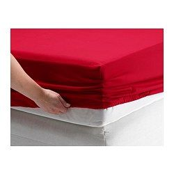 DVALA Fitted sheet, red - red - Twin - IKEA