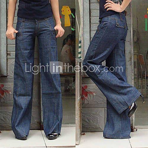 [USD $ 28.99] Classic Stereo Wide Leg Jeans Women