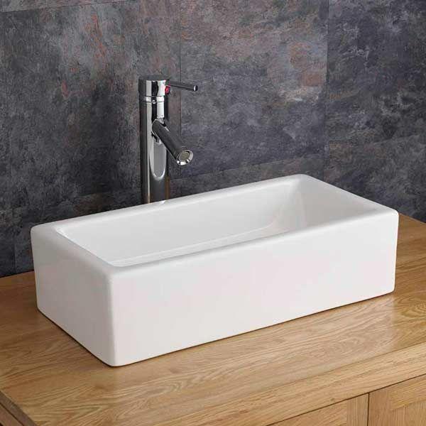 Rectangle Countertop Basin Slim Freestanding Bathroom Sink