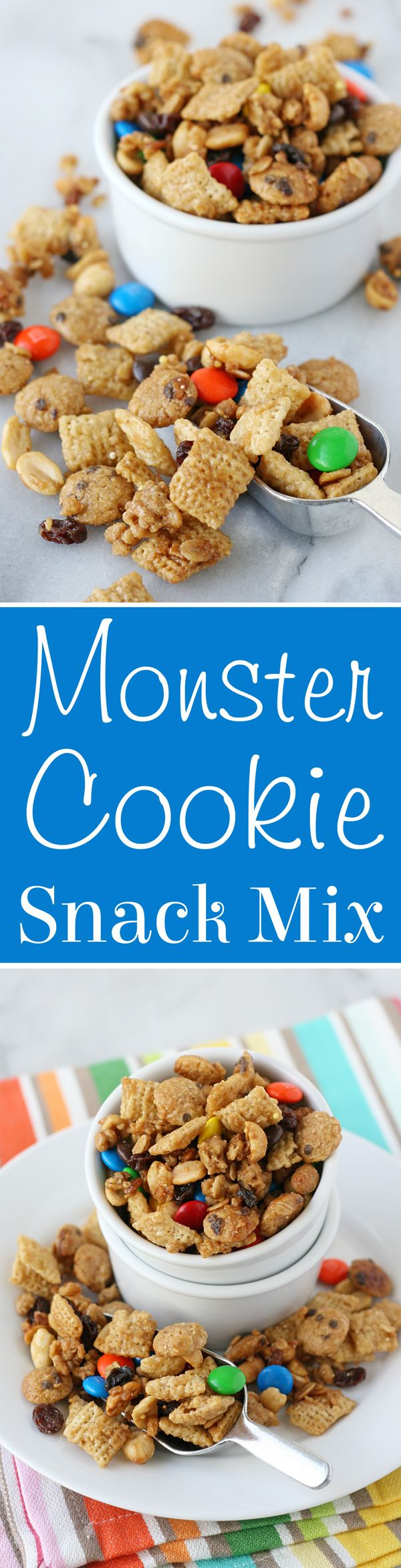 Crazy delicious!! Sweet, salty, crunchy and amazing MONSTER COOKIE SNACK MIX!