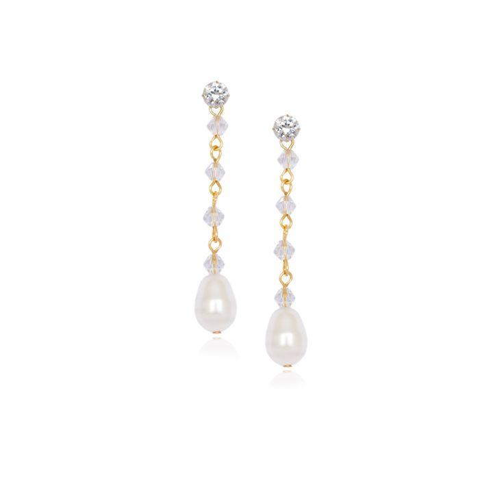 Gold Crystal Pearl Earrings