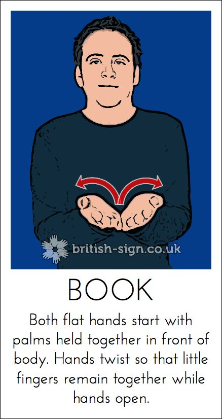 Today's British Sign Language sign is: BOOK - learn more at www.british-sign.co.uk #BSL #BritishSignLanguage