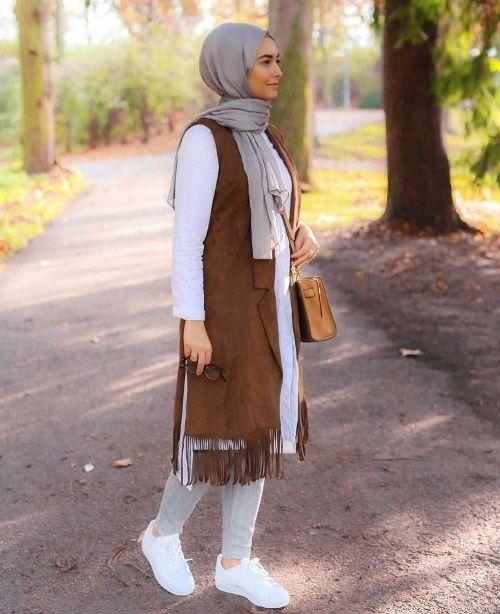 cognac hijabi vest