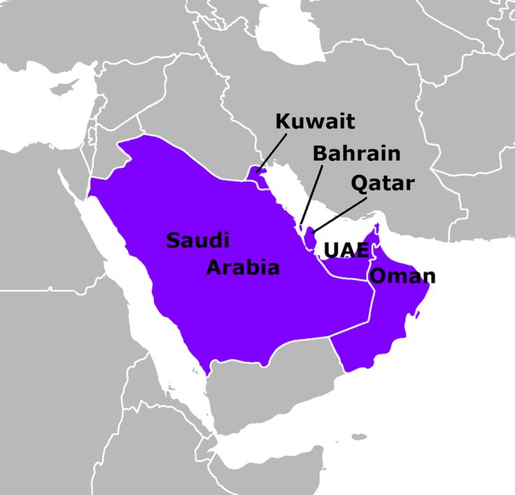 The Cooperation Council for the Arab States of the Gulf, originally (and still colloquially) known as the Gulf Cooperation Council, is a regional intergovernmental political and economic union consisting of all Arab states of the Persian Gulf, except for Iraq. Its member states are Bahrain, Kuwait, Oman, Qatar, Saudi Arabia, and the United Arab Emirates.