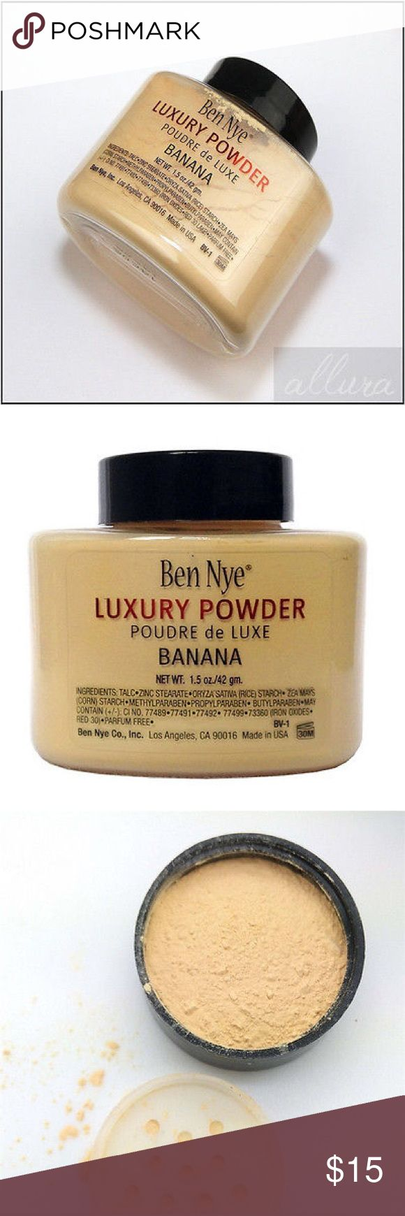 Ben Nye Luxury Powder Banana NEW SEALED Top is still sealed. Ben nye powder is loose setting powder. Perfect for under eye area. Ben Nye Makeup Face Powder #makeupvanity