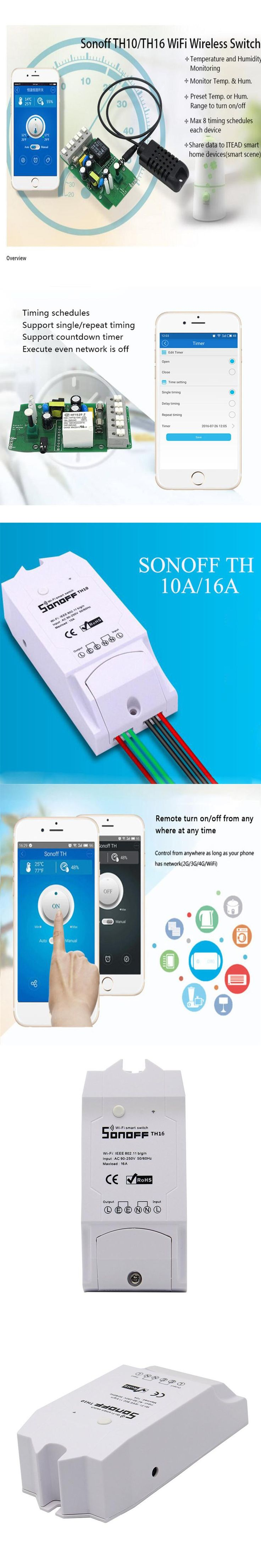 Sonoff TH10/TH16 WiFi Smart Switch Temperature And Humidity Monitoring Controller Sensor with Timing Function Hot Sale
