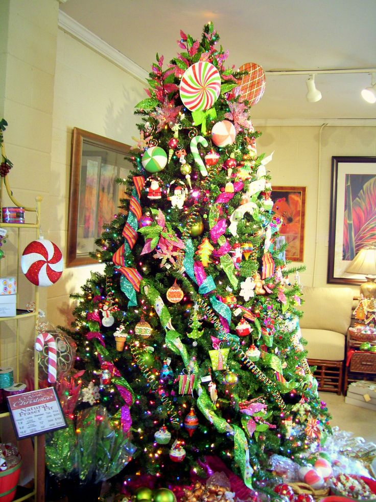 The candy-theme Christmas tree was decorated with all things sugarplum.
