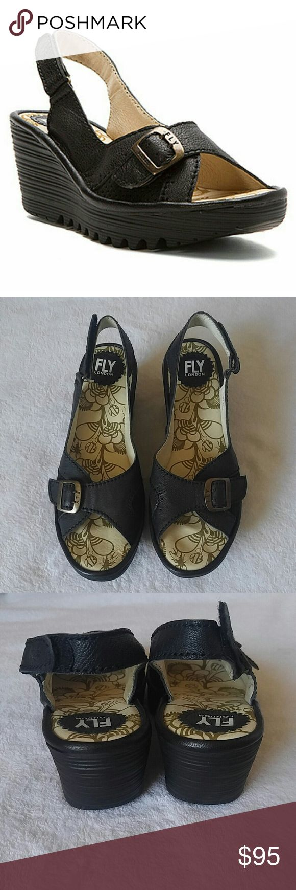 """Fly London Yaga Wedge NWOB Fly London """"Yaga"""" wedge sandals Open toe with buckle clasp Sling back with Velcro strap Black US size 9/9.5 3"""" wedge NWOB never worn Fly London Shoes"""