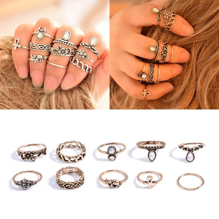 Bohemian 10pcs/Pack Vintage Elephant Moon Rings Lucky Stackable Midi Rings Set of Rings for Women Jewelry Party Free Shipping