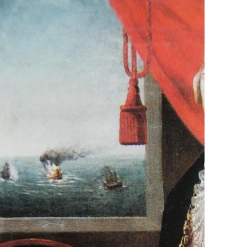El Lord Clive ardiendo en el fondo de un retrato del teniente general Melgarejo que asistió a la batalla como alférez de navío de la fragata Victoria.