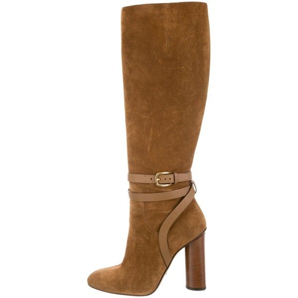 Pre-owned Gucci Suede Knee-High Boots (3 835 ZAR) found on Polyvore featuring women's fashion, shoes, boots, brown, suede zipper boots, knee high boots, knee boots, brown block heel boots and brown suede knee high boots