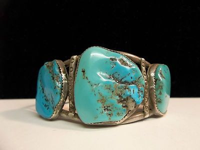 OLD PAWN NAVAJO STERLING TURQUOISE CUFF BRACELET