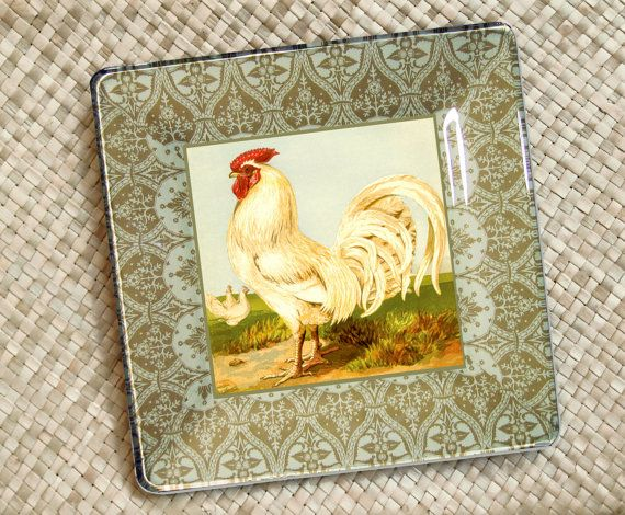 Roosters Kitchen Decor / Rooster Print / Rooster Painting / Decoupage Plate  Wall Hanging / Chicken