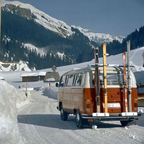 VW T2 going skiing.