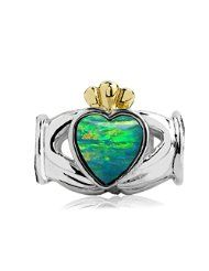 Sterling Silver-yellow Gold Claddagh Bead Charm with Lab Green Opal - $28.50 www.jewelryandwatches.co.za