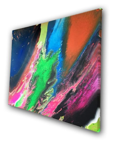 """Nuclear Reaction"" - SPECIAL PRICE - Original Abstract PMS Acrylic Painting, 20 x 16 inches"