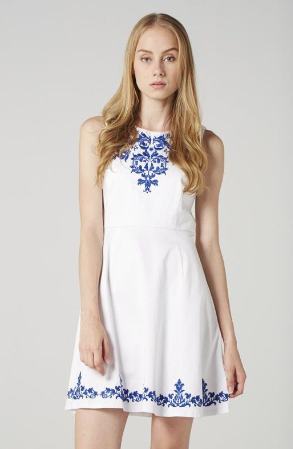 #ChinaDoll #Porcelain #WhiteandBlue #SpringSummer13 #highneck #sleeveless #fitandflare #embroidered #trend #streetstyle #dress #short
