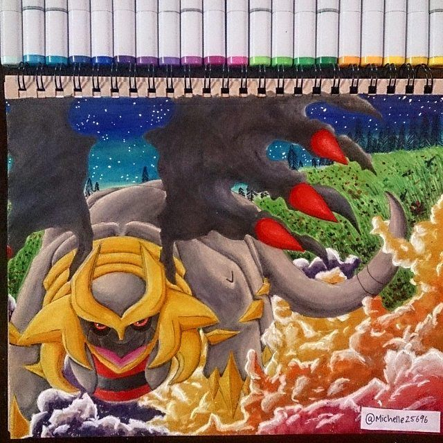 Special request post for @annasunset  for her one year anniversary /Birthday present to her boyfriend of his favourite #Pokemon #giratina with some colorful smoke! Hope you like it and sorry for the wait! .Hope you guys like it too,let me know what you think? ... Materials used  #copicmarkers  #prismacolors  #whitegelpen  #tontanpaper  #goldgelpen  #pencil