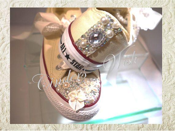Wedding converse / bridesmaid converse / customised by CindersWish, £92.00