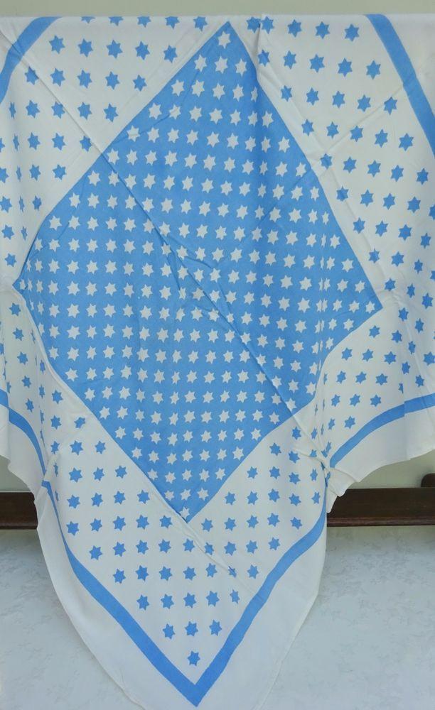 Vintage Daneshaw Tablecloth Fabric Cloth 30's 40's Blue Star Polka Dot
