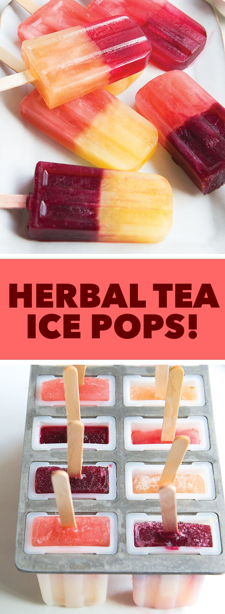 Ice pops made from herbals teas are a light and sophisticated way to beat the summer heat!