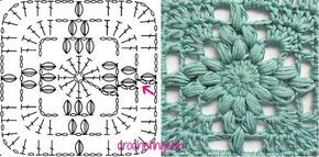 crochetingclub: Jan Eaton: Italian Cross granny. Tutorial y diagrama (Español-English)