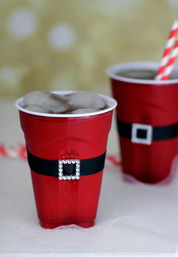 Santa's red solo cups. So clever!
