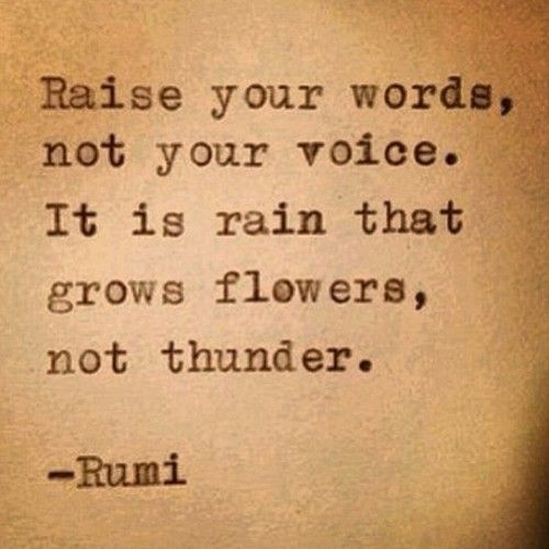 Raise your words, not your voice. It is rain that grows flowers, not thunder. #quotes #rumi
