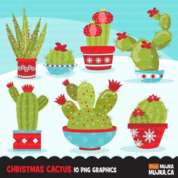 Christmas Cactus Clipart Cute Cactus Flowering Dessert Etsy Cactus Clipart Scrapbooking Set Christmas Cactus