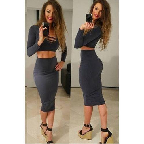 Fashion Woman 2pcs Deep V-Neck Long Sleeves Bandage Dress Dark Blue