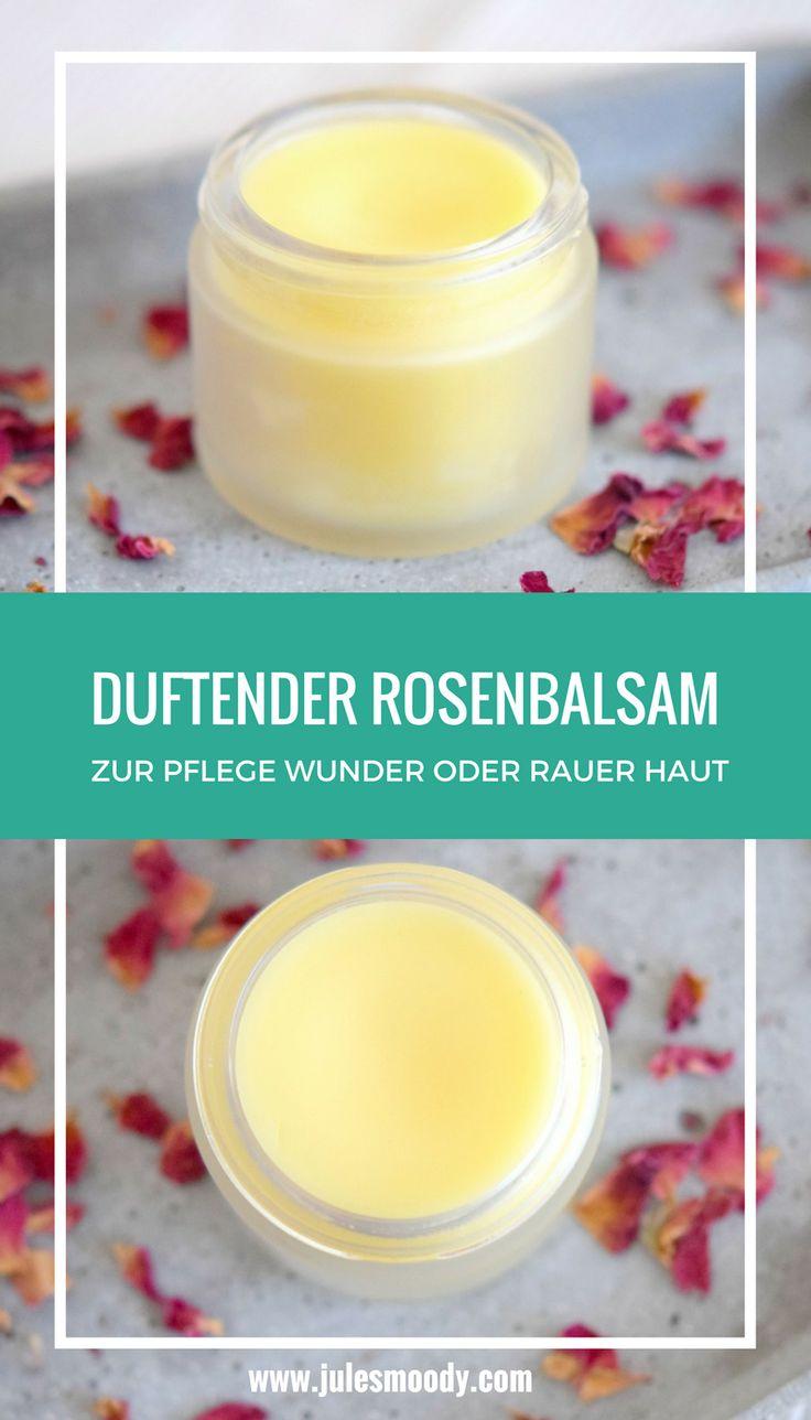 Dieser wunderbar duftende DIY Rosenbalsam pflegt und heilt wunde, rissige, raue Haut und mehr!