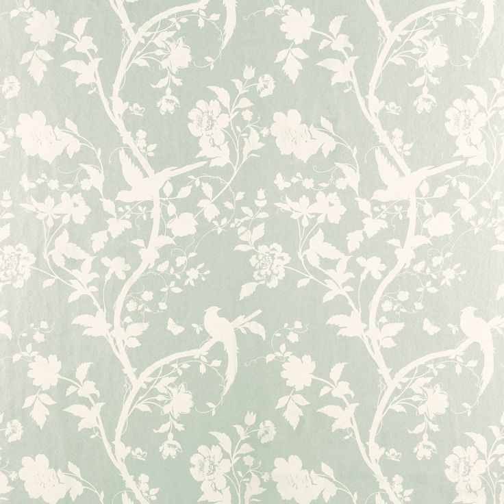 Oriental Garden Eau De Nil Floral Wallpaper An Elegant Archive Depiction Of  Beautiful Silhouetted Birds And