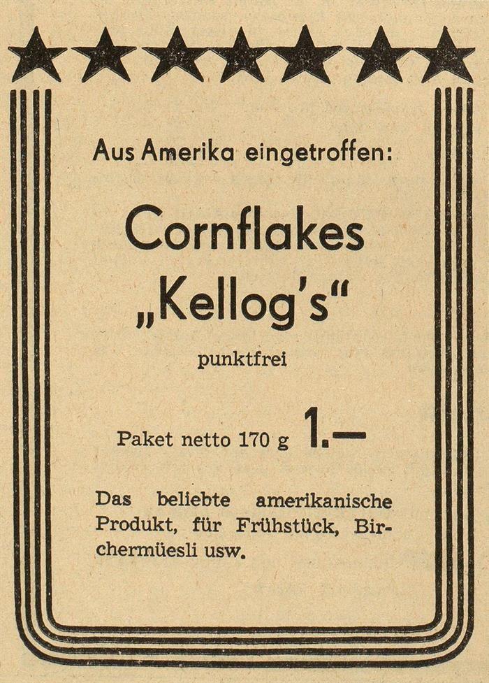 Nach dem Zweiten Weltkrieg importiert die Migros zahlreiche Konsumgüter aus Amerika und hilft so massgeblich mit bei der Amerikanisierung des Schweizer Alltags. So setzt sie beispielsweise die kaum bekannten Cornflakes auf den Speiseplan ihrer Kunden.