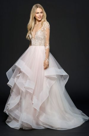 Illusion Princess/Ball Gown Wedding Dress  with Natural Waist in Tulle. Bridal Gown Style Number:33486978