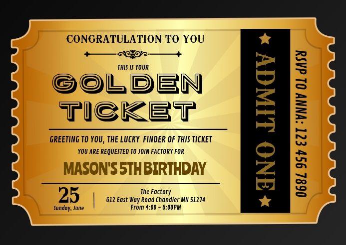 Golden Ticket Birthday Invitation Ticket Invitation Birthday Golden Ticket Template Ticket Design Template