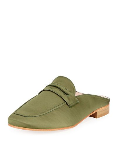PATRICIA GREEN SURI SATIN SLIDE LOAFER. #patriciagreen #shoes #
