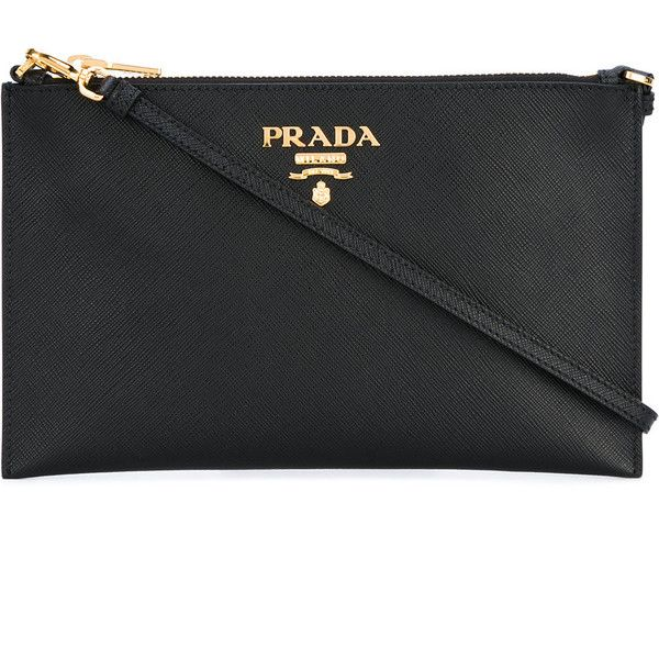 Prada Saffiano clutch bag (€475) ❤ liked on Polyvore featuring bags, handbags, clutches, black, top handle purse, prada, prada pochette, prada clutches and 100 leather handbags