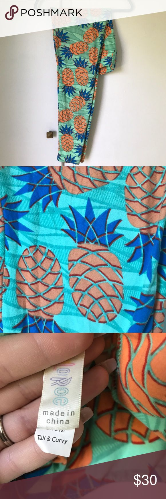 lularoe pineapple leggings lularoe pineapple leggings! worn only a few times and washed and dried per lularoe standards. minimal pilling, but there is some due to the super soft nature of the fabric, on the inside thigh. LuLaRoe Pants Leggings