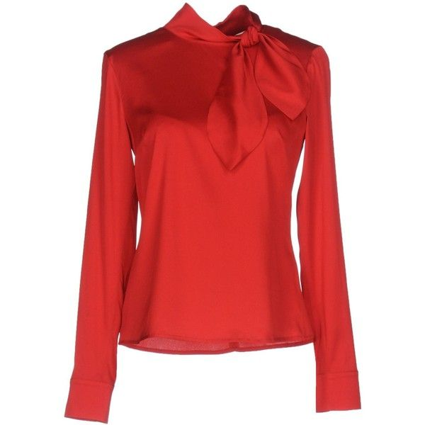 L' Autre Chose Blouse ($239) ❤ liked on Polyvore featuring tops, blouses, red, long sleeve blouse, zip blouse, bow collar blouse, red blouse and zip top