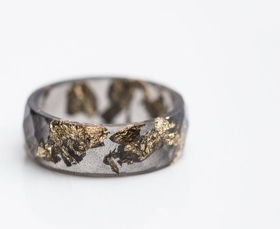 Black Resin Ring Men Ring Gold Flakes Big Size 10 by daimblond