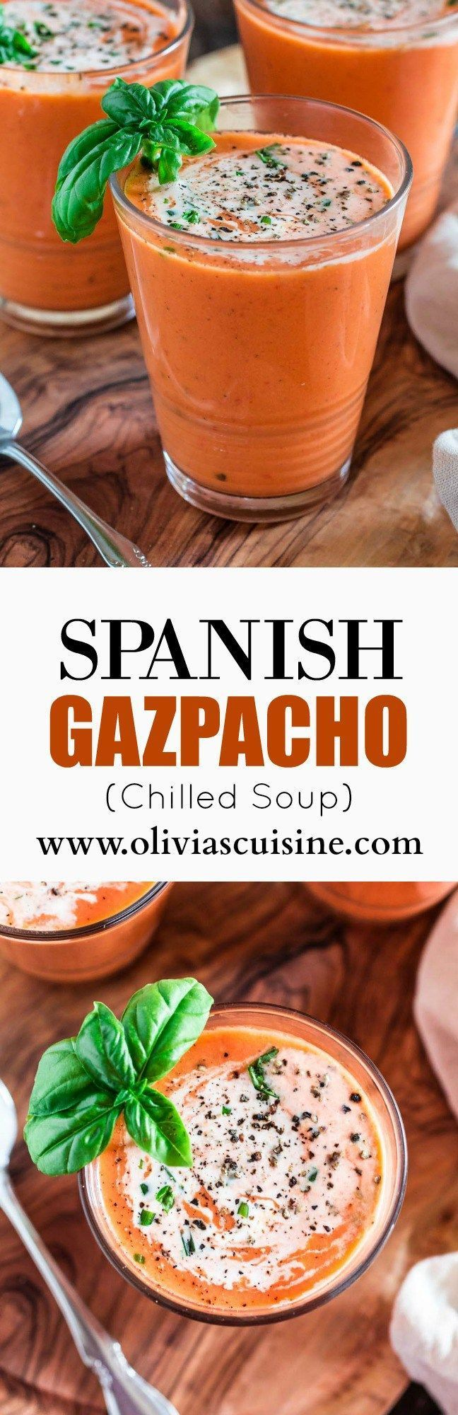 Spanish Gazpacho | http://www.oliviascuisine.com | This light and smooth cold soup is best made during summertime, when you can find the best and sweetest tomatoes.